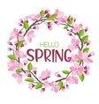 Wreath from spring flowers Blossoming branches of vector image