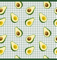 avocado seamless pattern on white background vector image