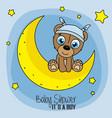 baby shower card boy vector image vector image