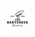 bartender vintage logo templatehand holding bottle vector image