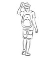 boy with backpack and hat on white background vector image