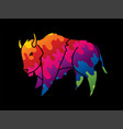 buffalo running bison graphic vector image vector image