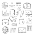 Business finance and office icons sketches vector image vector image