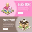candy store and coffee shop buildings vector image