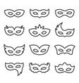 carnival mask line icon set vector image
