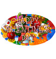 cartoon hand drawn doodles happy valentines day wi vector image