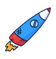 cartoon rocket hand drawn outline cute space vector image