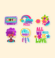 colorful retro hippie patches collection bright vector image