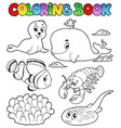 coloring book various sea animals 3 vector image vector image