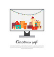 computer monitor with garland and holiday vector image vector image