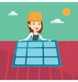 Constructor installing solar panel vector image vector image