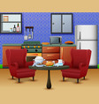 cozy kitchen interior with furniture and set of di vector image