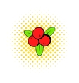 Cranberry icon in comics style vector image