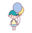 cute boy with balloons and hairstyle design vector image vector image
