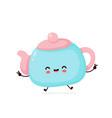 cute happy smiling teapot vector image vector image