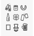 Different st Patricks Day icons set vector image