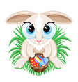 easter bunny with easter eggs in a basket vector image vector image