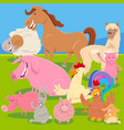 farm animals on meadow cartoon vector image