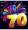 Fireworks Happy Birthday with a gold number 70 vector image vector image
