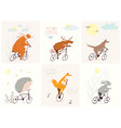 forest animals riding bicycles in nature with rain