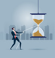 get panic and try to stop time - business concept vector image