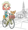 Girl with dog rides a bike in Amsterdam vector image vector image