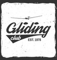 gliding club retro badge vector image