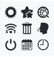 Globe magnifier glass and gear signs vector image vector image