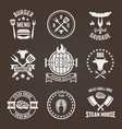 Grill and barbecue restaurant menu emblems