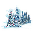 hand painted watercolor christmas tree vector image vector image