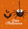 happy halloween card with spider and bats flying vector image vector image