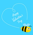 happy valentines day flying bee icon dash line vector image vector image