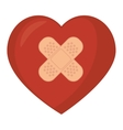 heart band aid love design vector image vector image