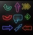 neon arrows bright light direction arrow frames vector image vector image
