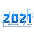 new year 2021 number with dimension lines vector image vector image