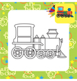 Outlined cartoon locomotive toy for coloring vector image