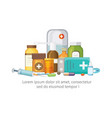 pharmacy concept with pills capsules vector image