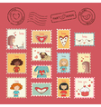 Post stamps Valentine vector image vector image