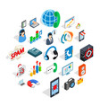 project work icons set isometric style vector image vector image