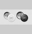 realistic white and black button badge icon set vector image