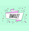ribbon banner with text smile vector image vector image