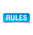 rules blue 3d realistic square isolated button vector image vector image