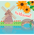 Rural landscape with tulips vector image vector image