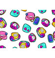 seamless pattern cartoon funny characters vector image
