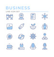 set color line icons business vector image