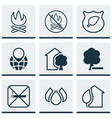 set of 9 eco-friendly icons includes cigarette vector image vector image