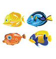 set of cartoon fish collection of cute colored vector image vector image