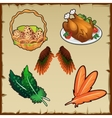 Set poultry eggs and various symbolic attributes vector image