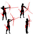 set silhouette attractive female and male archer vector image vector image