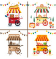 set street food with pizza hot dog coffee vector image